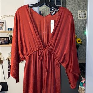 Maroon drawstring dress